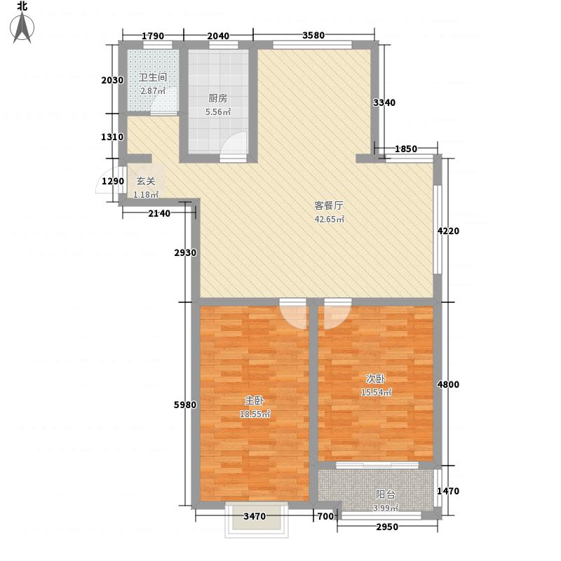 昊天龙景佳苑127.31㎡高层E户型2室2厅1卫1厨