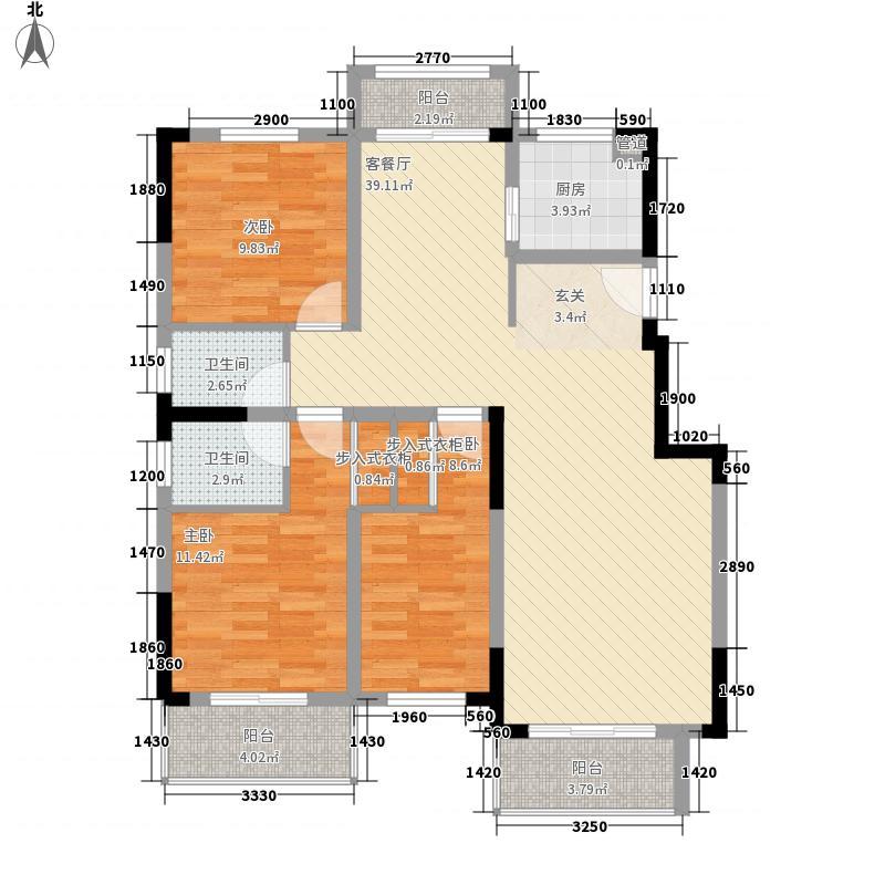 维也纳湖畔3室1厅2卫1厨129.00㎡户型图