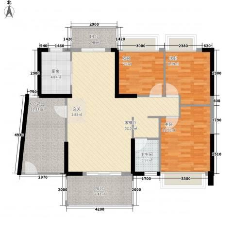 侨城水岸3室1厅1卫1厨91.28㎡户型图