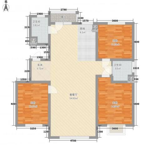 中国铁建梧桐苑3室1厅2卫0厨145.00㎡户型图