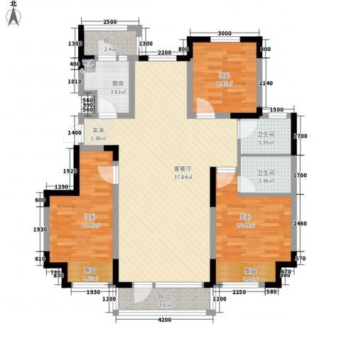东安瑞凯国际3室1厅2卫1厨127.00㎡户型图