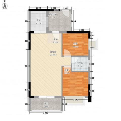 侨城水岸2室1厅1卫1厨63.81㎡户型图