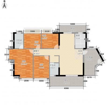 侨城水岸4室1厅2卫1厨127.61㎡户型图