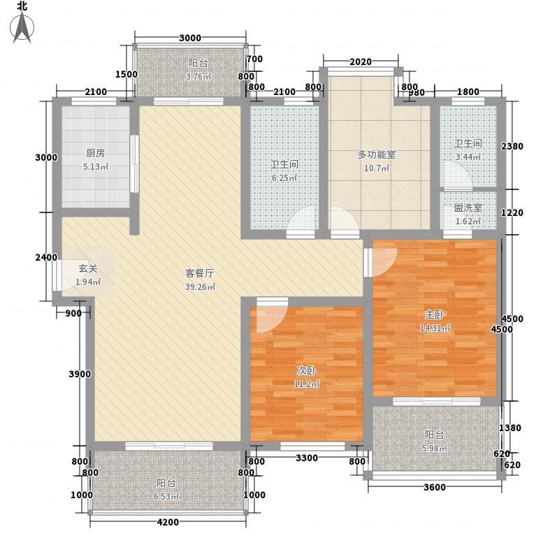 跑马山庄15.00㎡二期13#高层H1F户型3室2厅1卫