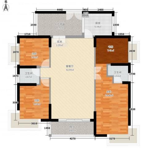 华发国际花园3室1厅2卫1厨139.00㎡户型图