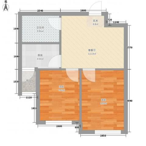 山河枫景2室1厅1卫1厨59.00㎡户型图