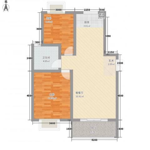港利・锦绣江南2室1厅1卫0厨96.00㎡户型图