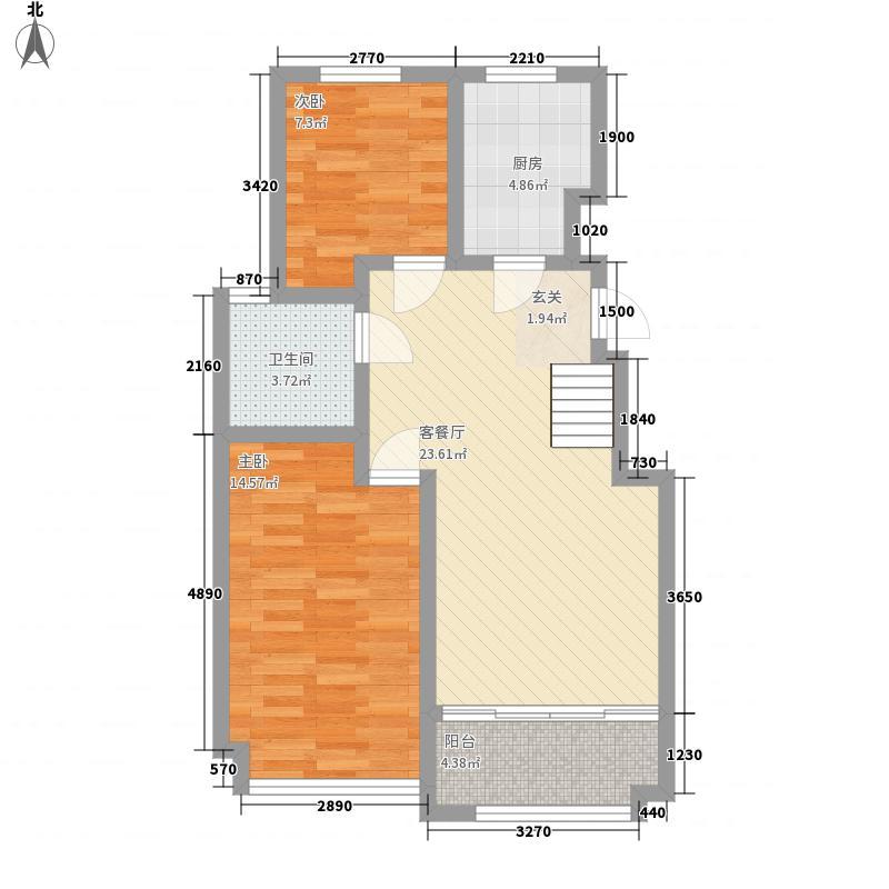 万海惜福时光2室1厅1卫1厨85.00㎡户型图