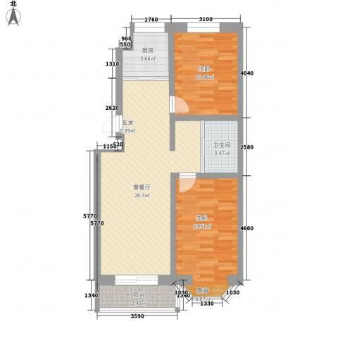 丽江花园2室1厅1卫1厨91.00㎡户型图