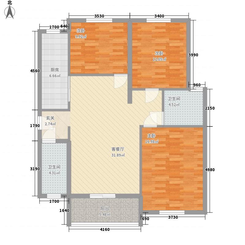 阳光国际新城3室1厅2卫1厨128.00㎡户型图