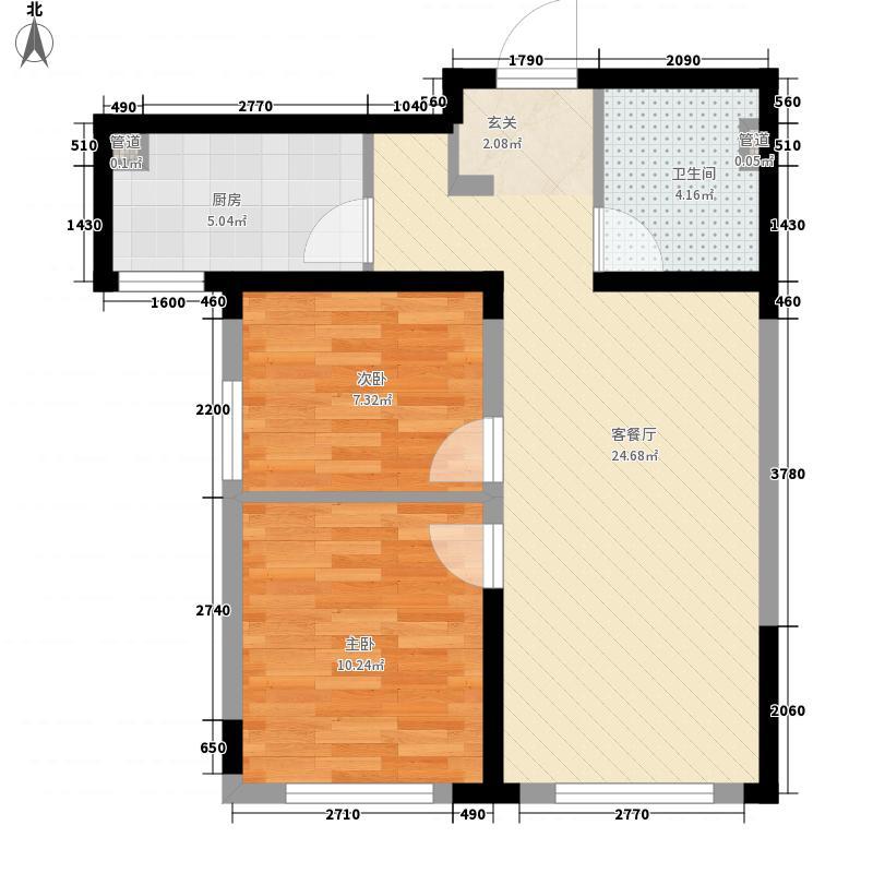 万科铁西蓝山2室1厅1卫1厨74.00㎡户型图