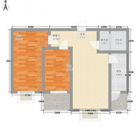 中泰名城2室1厅1卫1厨85.00㎡户型图