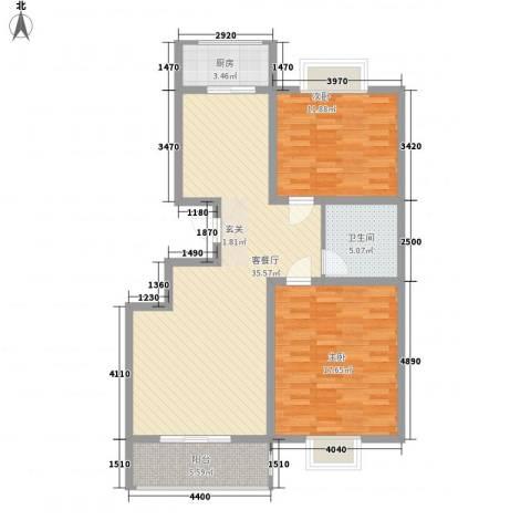 中泰名城2室1厅1卫1厨112.00㎡户型图