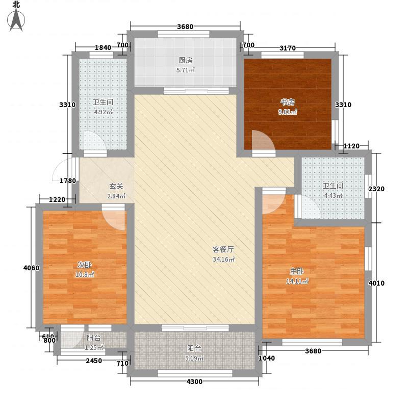 品烁华年131.00㎡7号楼F户型3室2厅2卫1厨