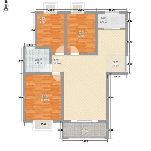 港利・锦绣江南3室1厅1卫1厨116.00㎡户型图