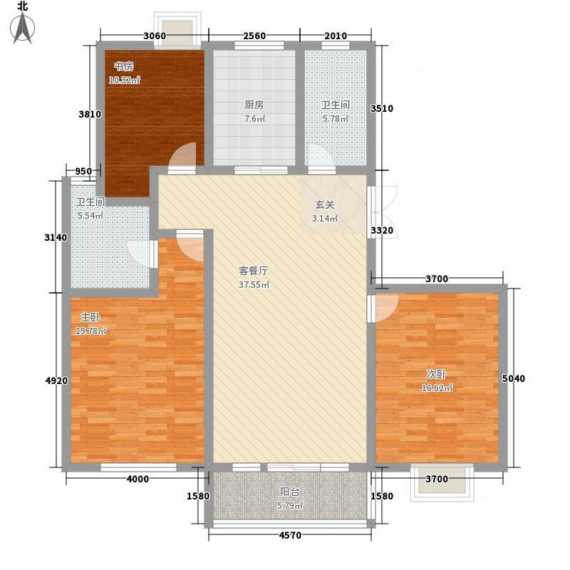 国华印象155.00㎡2#3#楼高层标准层D户型3室2厅2卫1厨