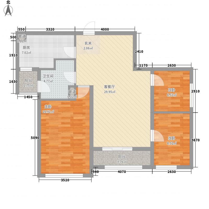 金地京汉19035.00㎡B栋B7户型3室2厅1卫1厨