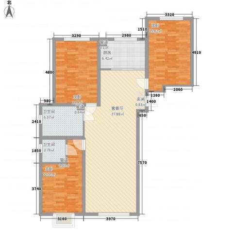 长春明珠3室1厅2卫1厨134.00㎡户型图