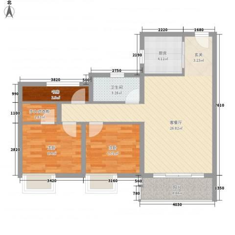 奥园黄金海岸3室1厅1卫1厨86.00㎡户型图
