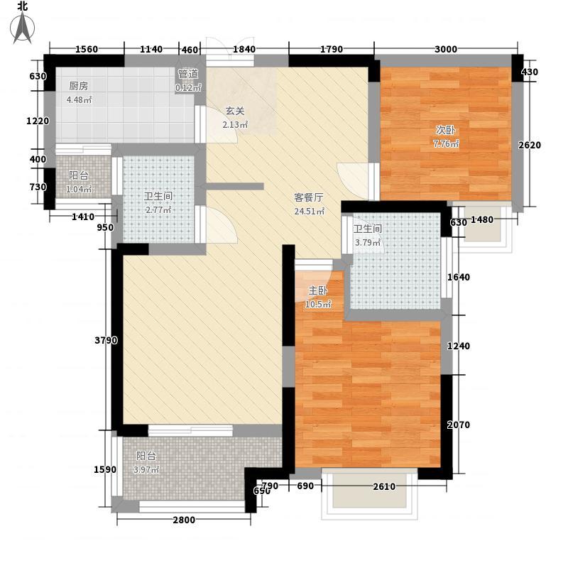 融侨城2室1厅2卫1厨87.00㎡户型图