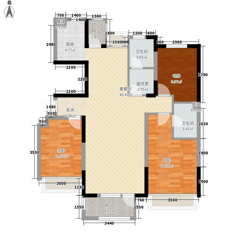 红星海世界观12.00㎡岚谷19#小高层B户型3室2厅2卫1厨