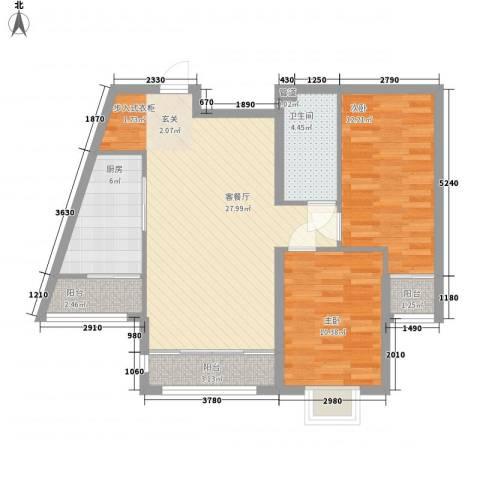 绿海印象2室1厅1卫1厨67.89㎡户型图