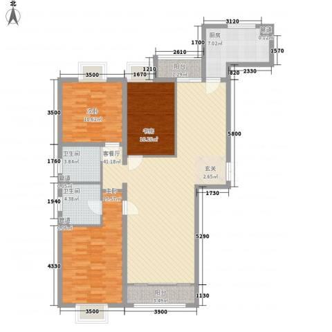 绿海印象3室1厅2卫1厨98.89㎡户型图