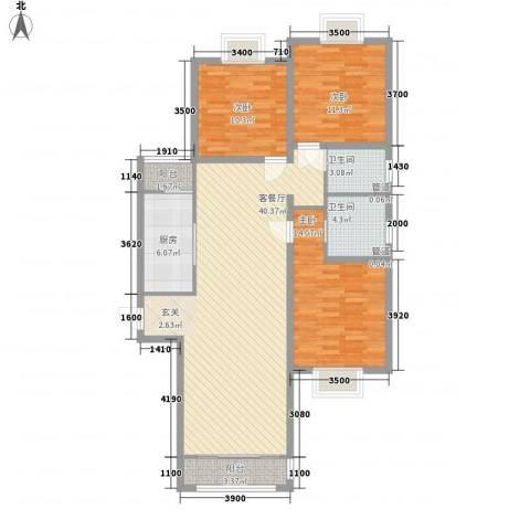 绿海印象3室1厅2卫1厨134.00㎡户型图