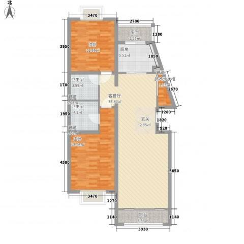 绿海印象2室1厅2卫1厨114.00㎡户型图