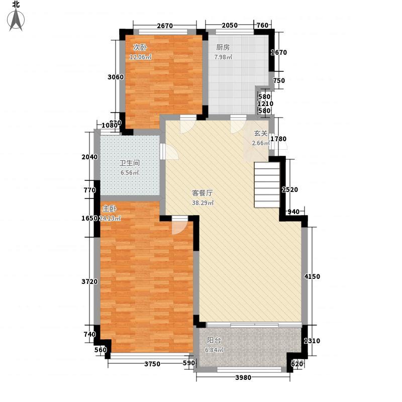 万海惜福时光135.00㎡4-11#B1-6户型2室2厅1卫1厨