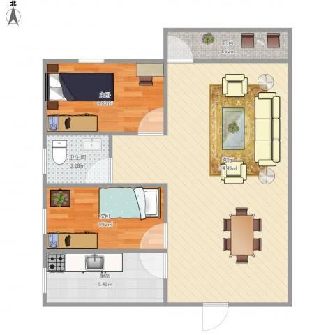 中海康城国际2室1厅1卫1厨87.00㎡户型图