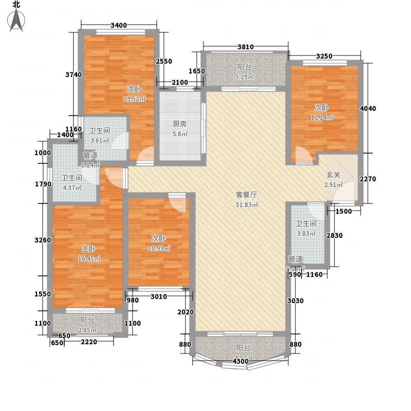 青岛星河湾4室1厅3卫1厨135.08㎡户型图