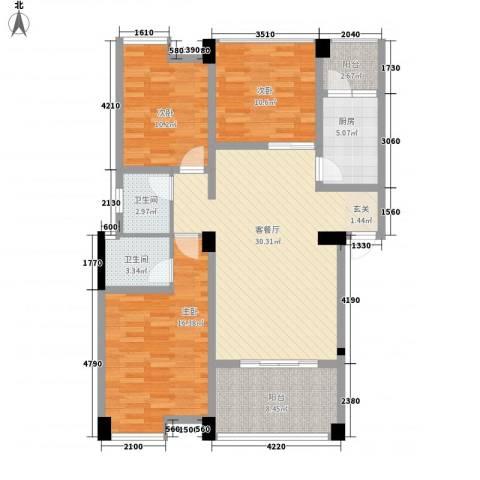 阳光城3室1厅2卫1厨89.99㎡户型图