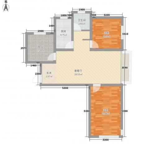 潮白河孔雀英国宫2室1厅1卫1厨77.96㎡户型图