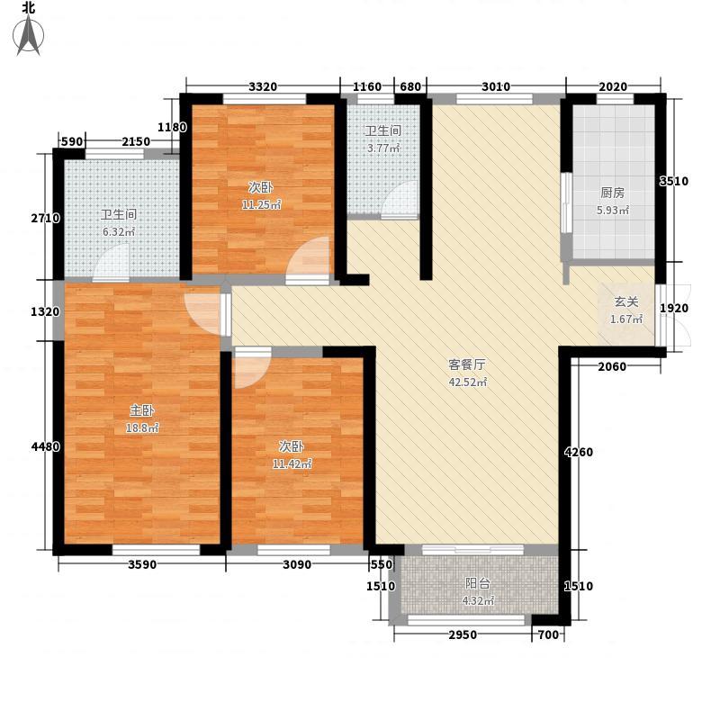 复地海上海13.00㎡7号楼B1户型3室2厅2卫1厨