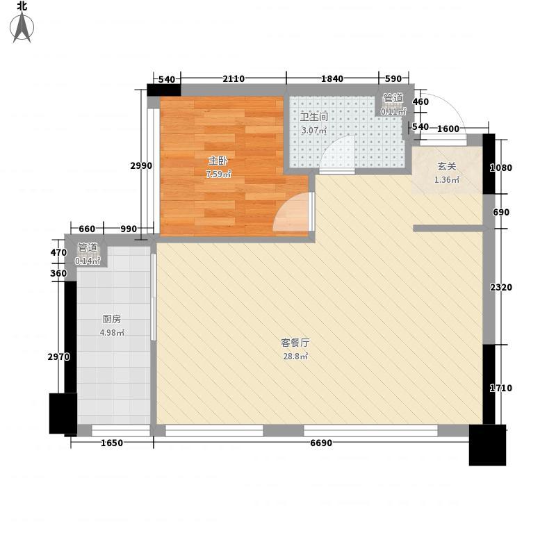复地海上海66.00㎡3号楼S3户型1室2厅1卫1厨