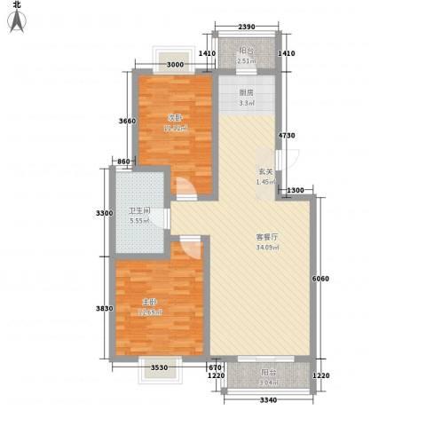九通家园二期2室1厅1卫0厨100.00㎡户型图