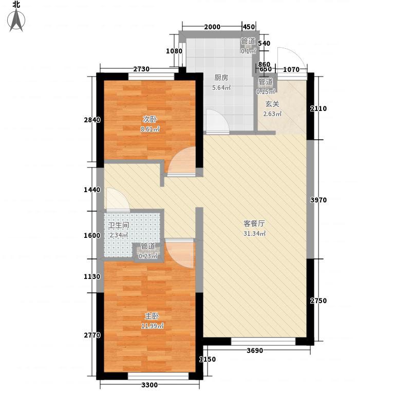 万科铁西蓝山2室1厅1卫1厨86.00㎡户型图
