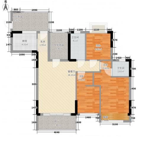 江南御都3室1厅2卫1厨86.06㎡户型图