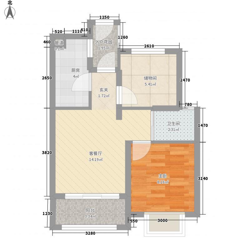建伟韵湖国际1室1厅1卫1厨65.00㎡户型图