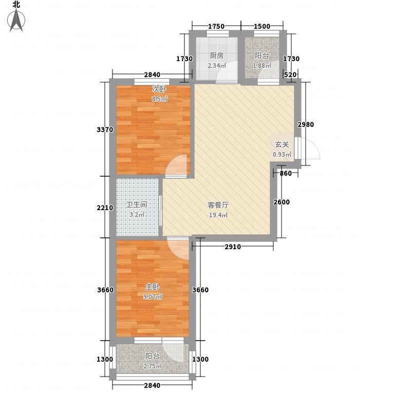 科达海景68.00㎡1#楼C户型2室1厅1卫1厨