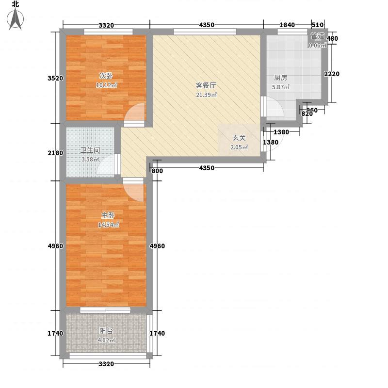 腾跃苑88.24㎡一期18#楼标准层C户型2室1厅1卫1厨
