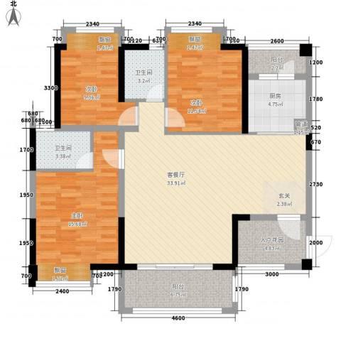 卓越东部蔚蓝海岸别墅3室1厅2卫1厨137.00㎡户型图