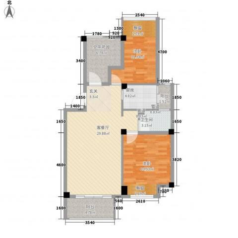 御景湾2室1厅1卫1厨75.47㎡户型图