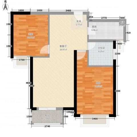 鸿泰苑2室1厅1卫1厨90.00㎡户型图