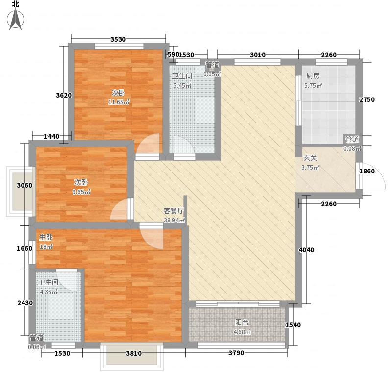 海信凤凰金岸阳光里141.00㎡1-4号楼E户型3室2厅2卫1厨