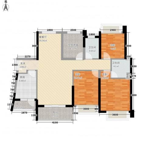 汇景御海蓝岸3室1厅2卫1厨126.00㎡户型图