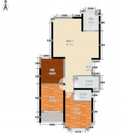 中科蓝湾国际3室1厅2卫1厨153.00㎡户型图