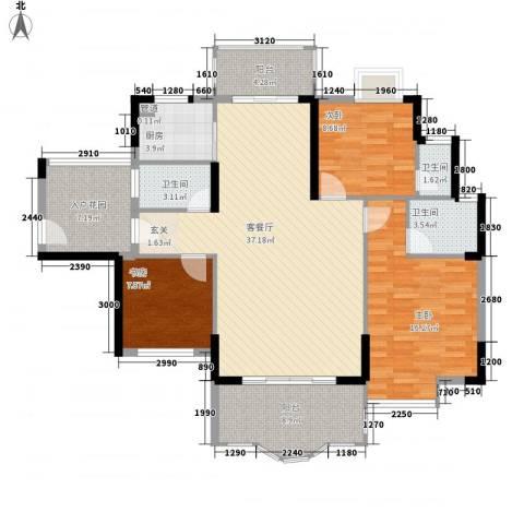 博罗新城建业・金域华府3室1厅3卫1厨144.00㎡户型图