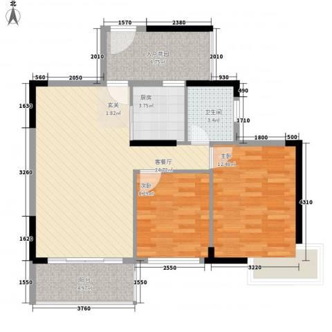 江南御都2室1厅1卫1厨72.29㎡户型图